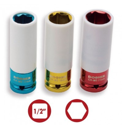 "Vasos de impacto 1/2"" Hexagonales serie de color CrMo DOGHER TOOLS"