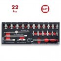"Base 22 pzs Vasos Hexagonales 3/8"" Carraca y accesorios DOGHER TOOLS"