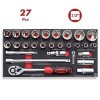 "Base 27 pzs Vasos 1/2"" Hexagonales Carraca y accesorios CrV DOGUER TOOLS"