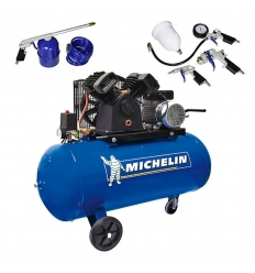 Compresor 3 HP 100 litros de transmisión correas VCX100 + SET MICHELIN