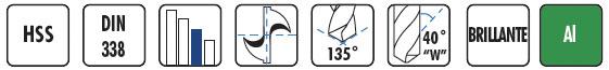 Características brocas HSS especial aluminio BC16 DIN338 BLUE MASTER