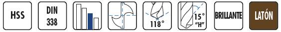 Características brocas HSS BC66 DIN338 especial latón BLUE MASTER