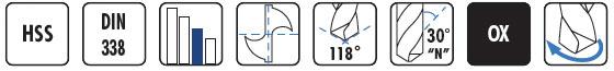 Características brocas HSS con corte a izquierdas BC15 DIN338 BLUE MASTER