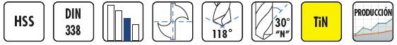 Características brocas HSS-Titanio BC18 DIN338 BLUE MASTER