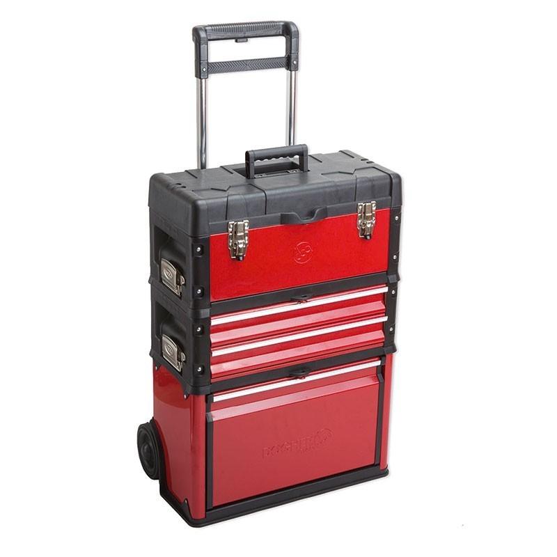 Trolley de chapa metálica con tres módulos 02 DOGHER TOOLS