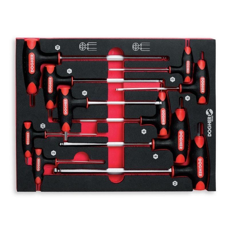 Base 10 llaves T Hexagonales de punta redonda S2 58 HRc DOGHER TOOLS