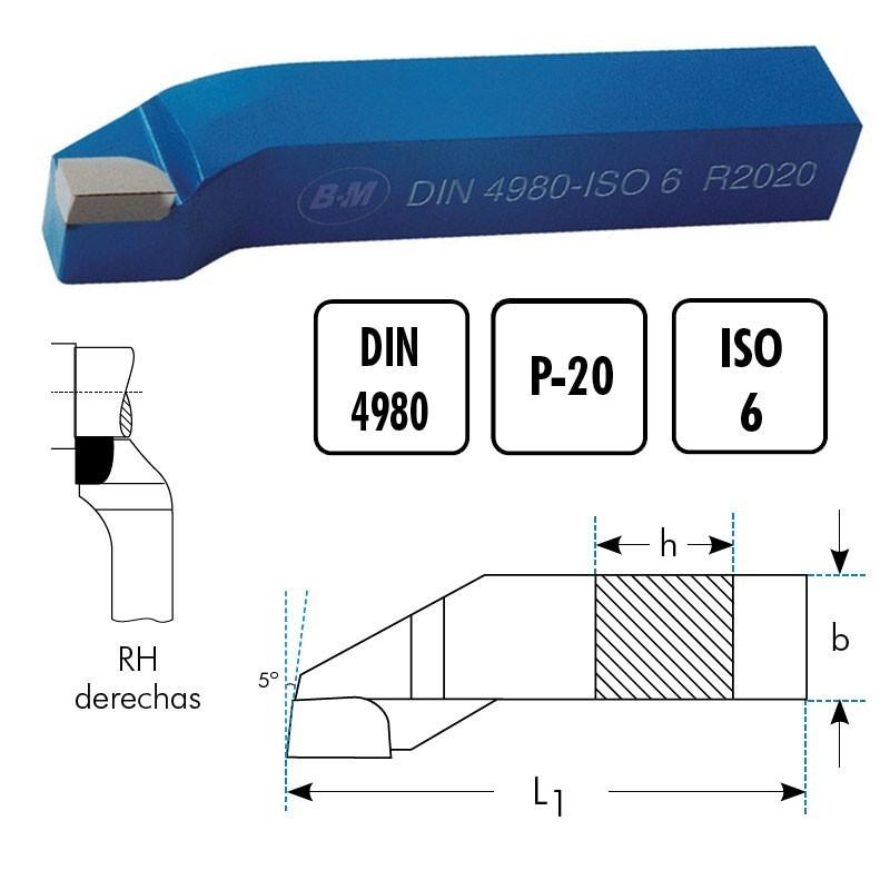 Cuchillas torno para escuadrar a 90° a derechas RH MD P20 DIN4980 BLUE MASTER