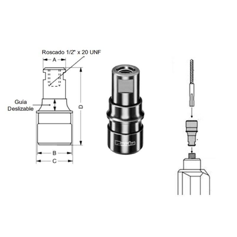 "Portabrocas para brocas SDS-PLUS con rosca 1/2""x20 para montar en taladros"