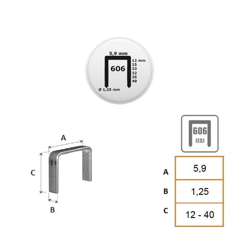 Grapa 606 RAPID de 12 a 25 y ES de 32 a 40 mm