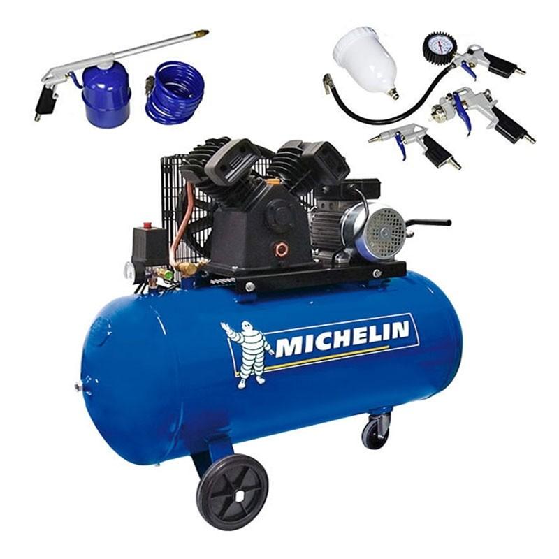 Compresor 3 HP 100 litros de transmisión correas VCX100 + SET MICHELIN